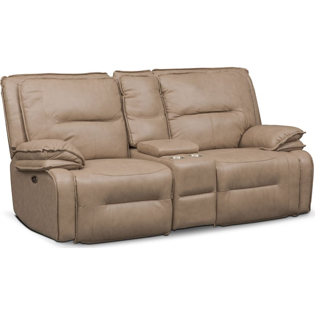 Living Room Furniture - Nikki 3-Piece Power Reclining Sectional with Console - Taupe