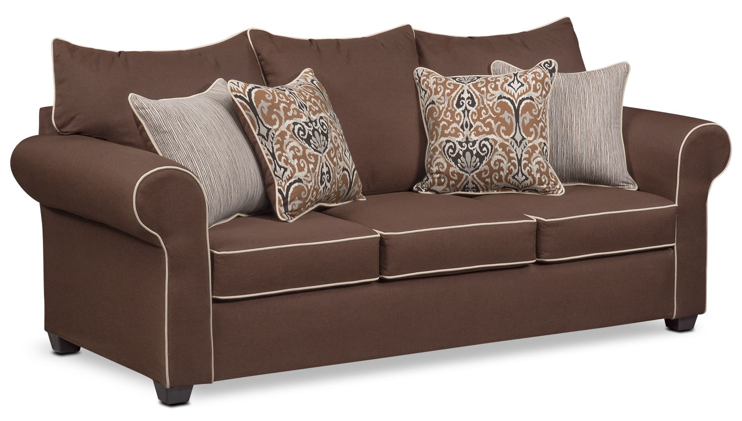 Living Room Furniture - Carla Queen Memory Foam Sleeper Sofa - Chocolate