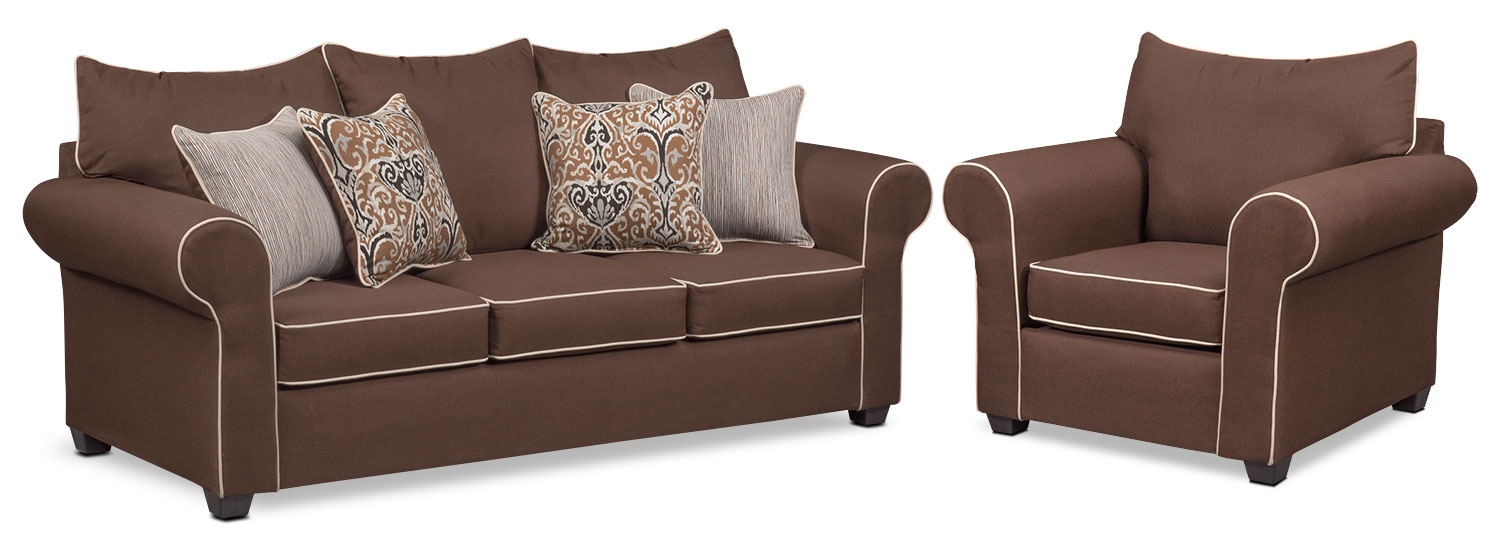 Living Room Furniture - Carla Queen Memory Foam Sleeper Sofa and Chair Set - Chocolate