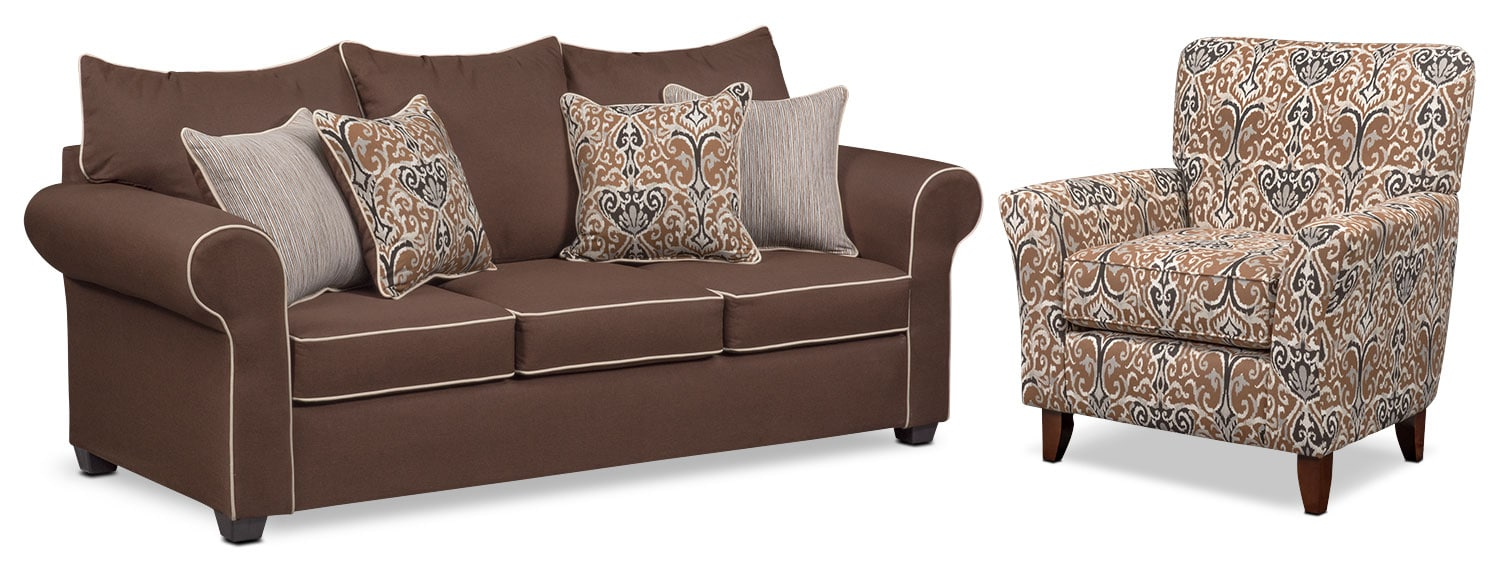 Carla Sofa and Accent Chair Set - Chocolate