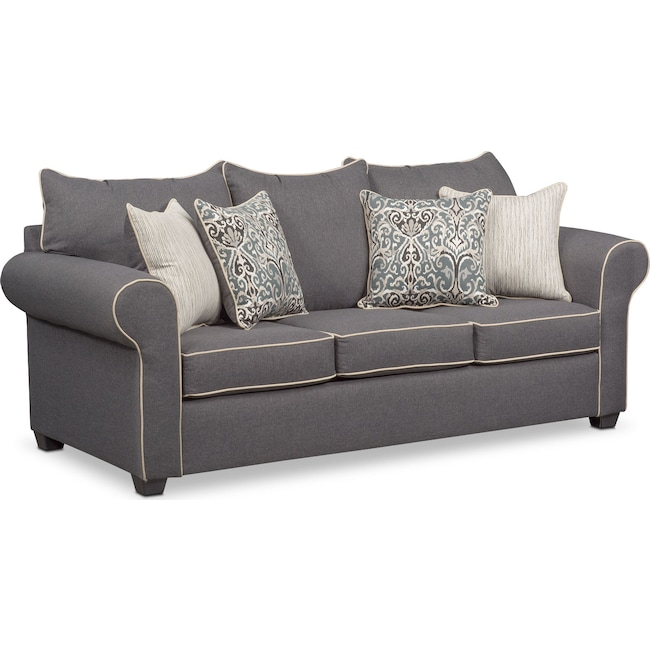Living Room Furniture - Carla Queen Innerspring Sleeper Sofa - Gray