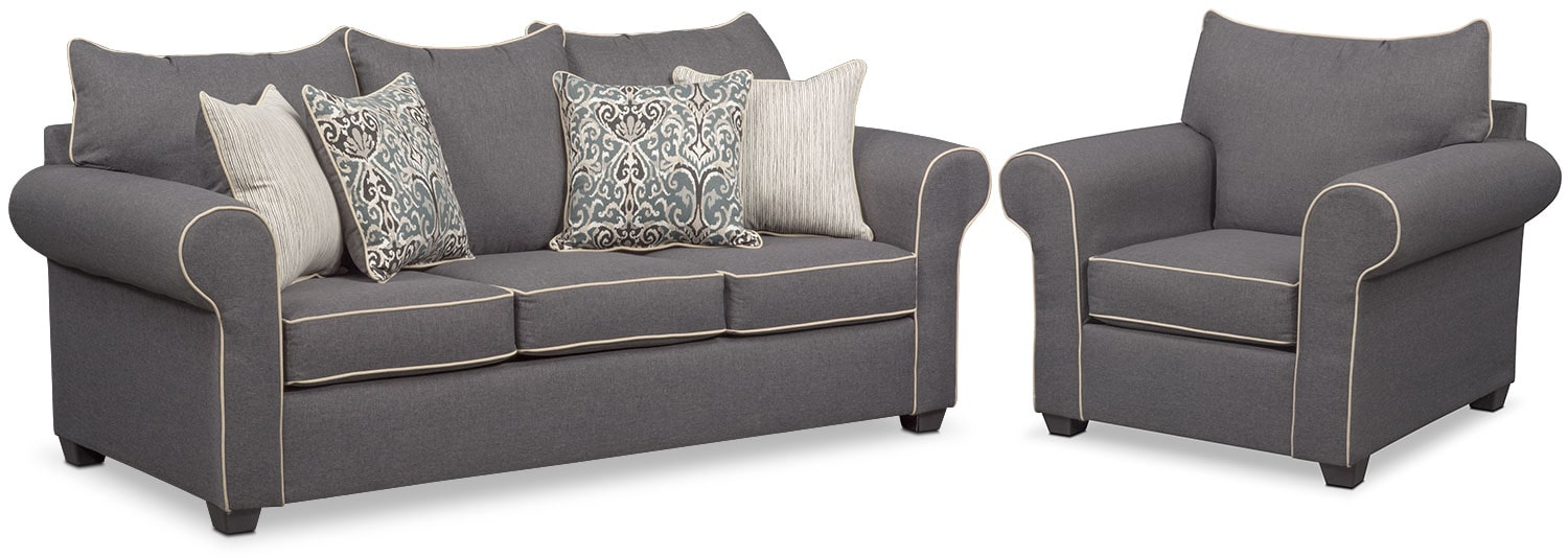 sofa and chair set Carla Sofa and Chair Set   Gray | American Signature Furniture sofa and chair set