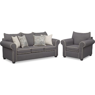 Carla Sofa and Chair Set - Gray