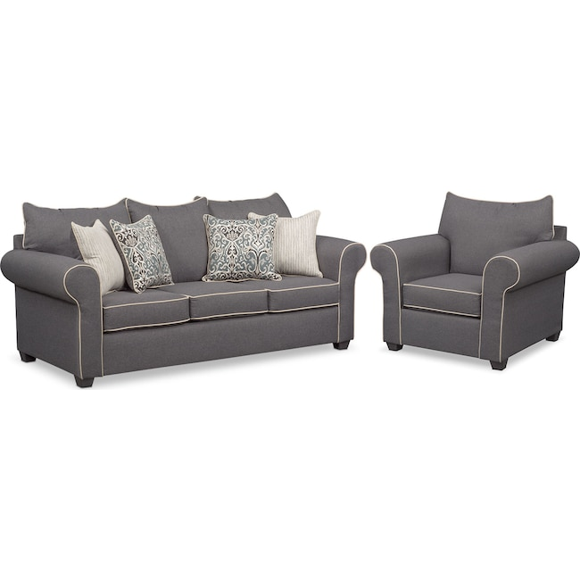 Living Room Furniture - Carla Sofa and Chair Set - Gray