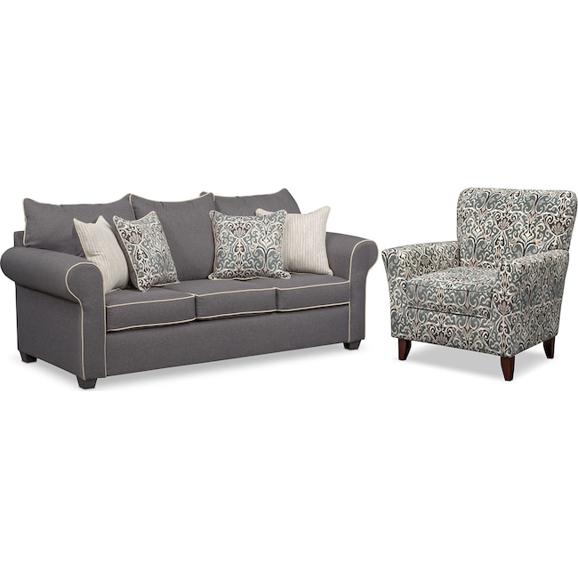 Living Room Furniture - Carla Queen Memory Foam Sleeper Sofa and Accent Chair Set - Gray