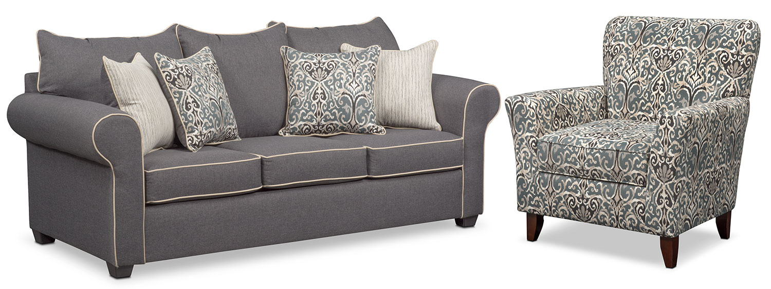 Exceptionnel Carla Sofa And Accent Chair Set   Gray