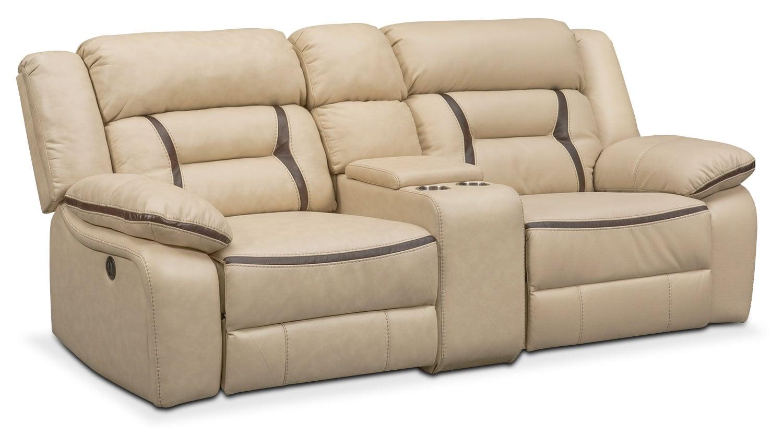 Remi 3 Piece Power Reclining Sofa Cream American Signature  ~ Traditional Reclining Sofa