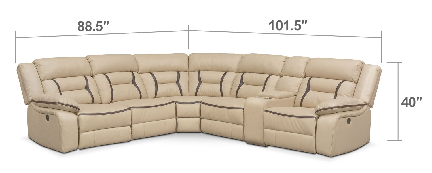 Living Room Furniture - Remi 6-Piece Power Reclining Sectional with 2 Reclining Seats - Cream