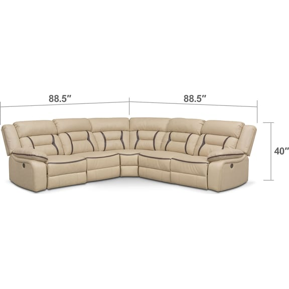 Living Room Furniture - Remi 5-Piece Power Reclining Sectional with 3 Reclining Seats - Cream
