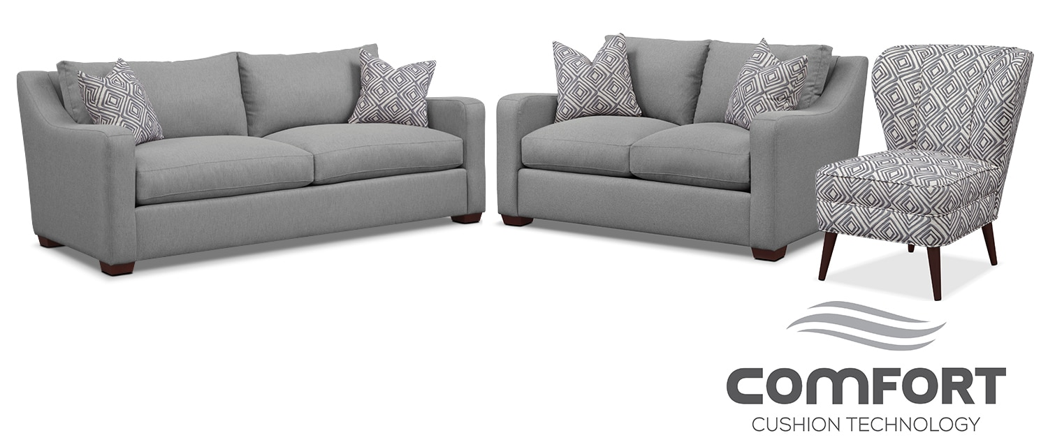 Living Room Furniture - Jules Comfort Sofa, Loveseat and Accent Chair Set - Gray