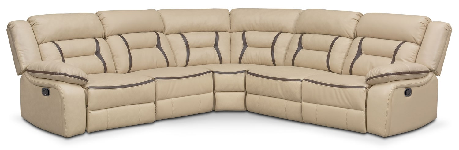 Remi 5-Piece Reclining Sectional with 2 Reclining Seats - Cream
