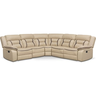 Remi 5-Piece Reclining Sectional with 3 Reclining Seats - Cream