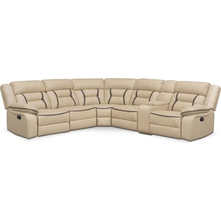 Remi 6-Piece Reclining Sectional with 2 Reclining Seats - Cream