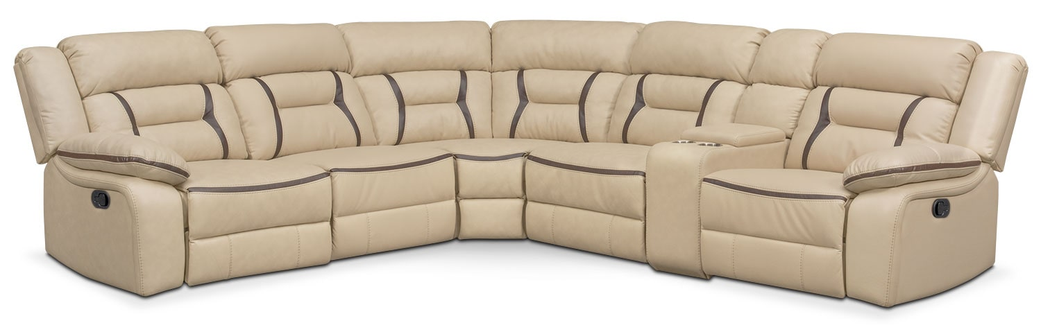 Living Room Furniture - Remi 6-Piece Reclining Sectional with 2 Reclining Seats - Cream  sc 1 st  American Signature Furniture : american signature sectional - Sectionals, Sofas & Couches