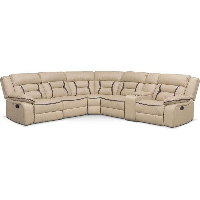 Living Room Furniture - Remi 6-Piece Reclining Sectional with 3 Reclining Seats - Cream