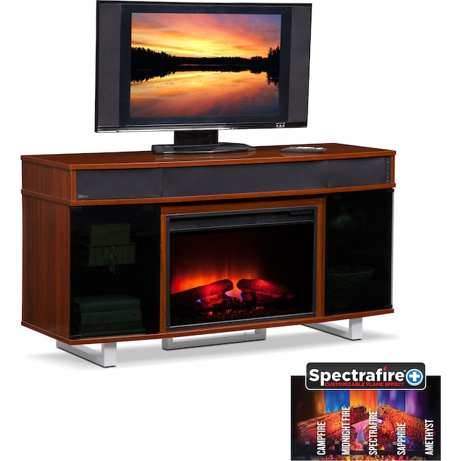 "Entertainment Furniture - Pacer 56"" Traditional Fireplace TV Stand with Sound Bar - Cherry"