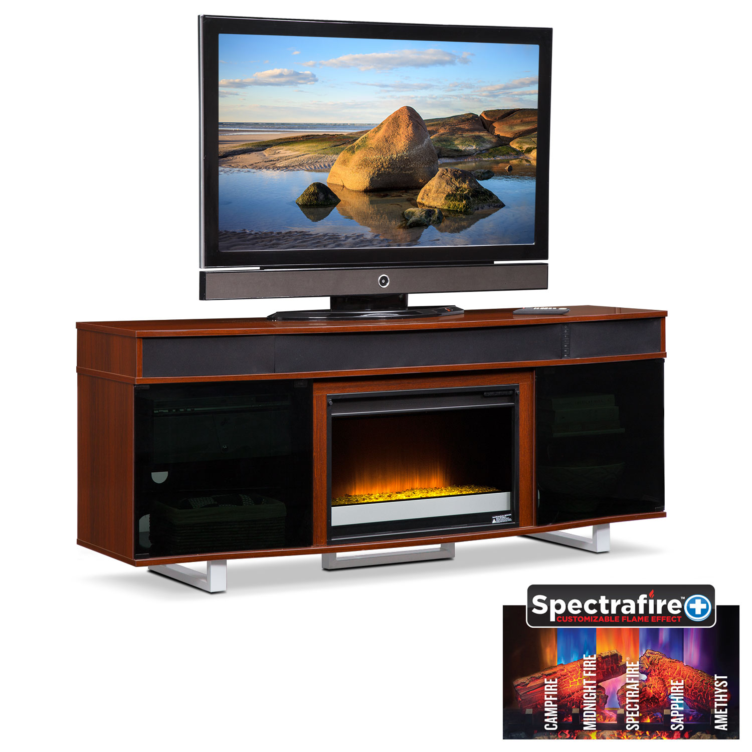 """Entertainment Furniture - Pacer 72"""" Contemporary Fireplace TV Stand with Sound Bar - Cherry"""