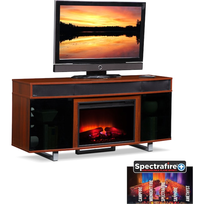 """Entertainment Furniture - Pacer 64"""" Traditional Fireplace TV Stand with Sound Bar - Cherry"""