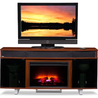 """Pacer 64"""" Traditional Fireplace TV Stand with Sound Bar - Cherry"""