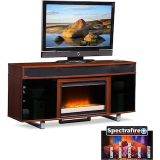 "Pacer 64"" Contemporary Fireplace TV Stand with Sound Bar - Cherry"