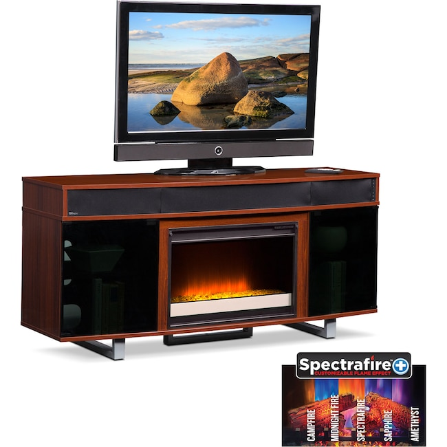"""Entertainment Furniture - Pacer 64"""" Contemporary Fireplace TV Stand with Sound Bar - Cherry"""