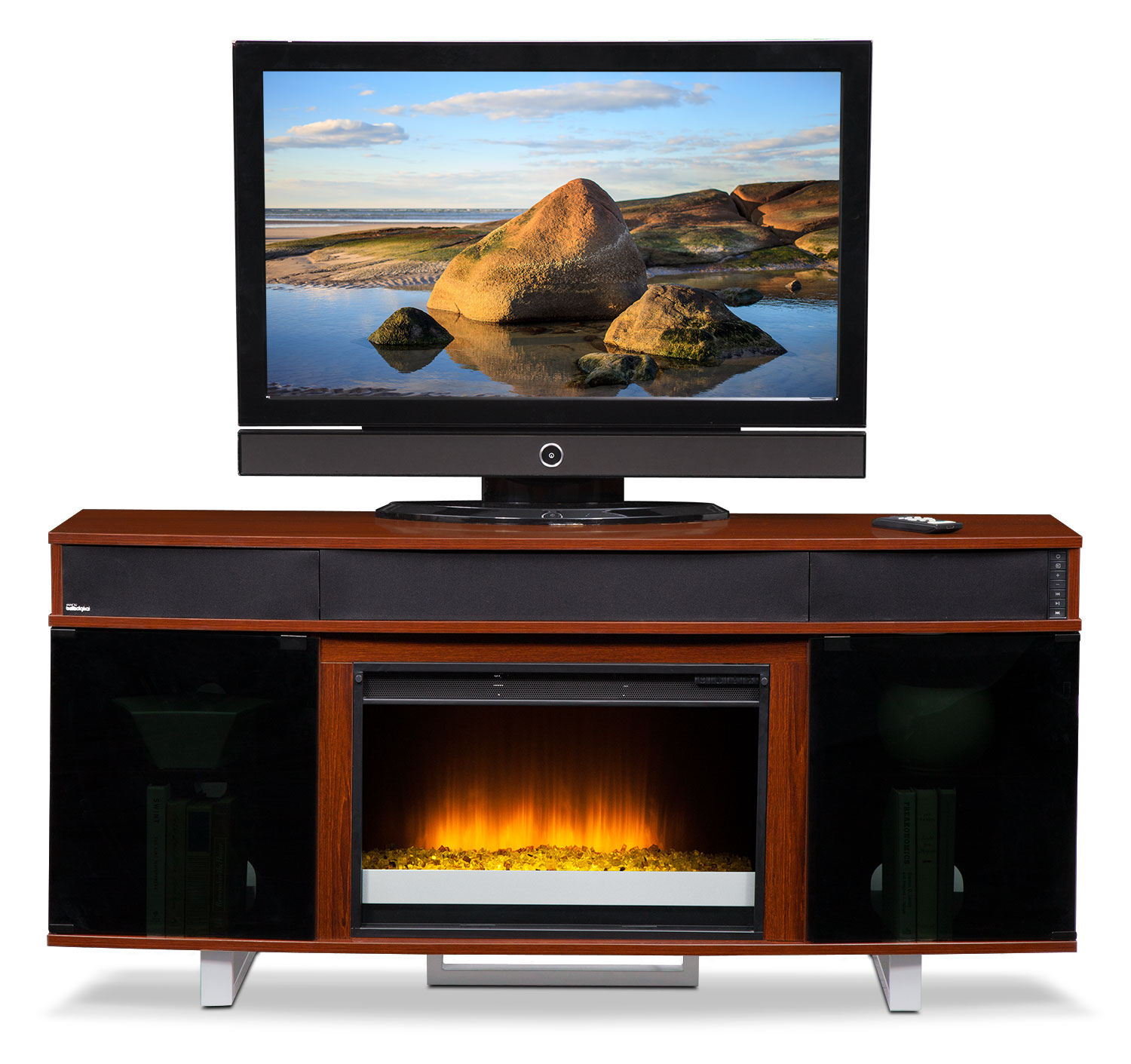 Pacer 64 Contemporary Fireplace Tv Stand With Sound Bar Cherry