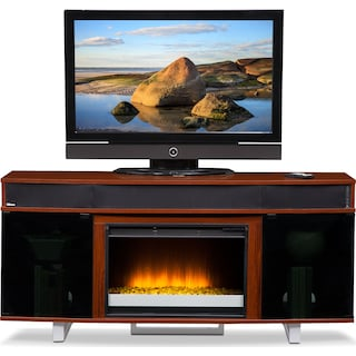 """Pacer 64"""" Contemporary Fireplace TV Stand with Sound Bar - Cherry"""