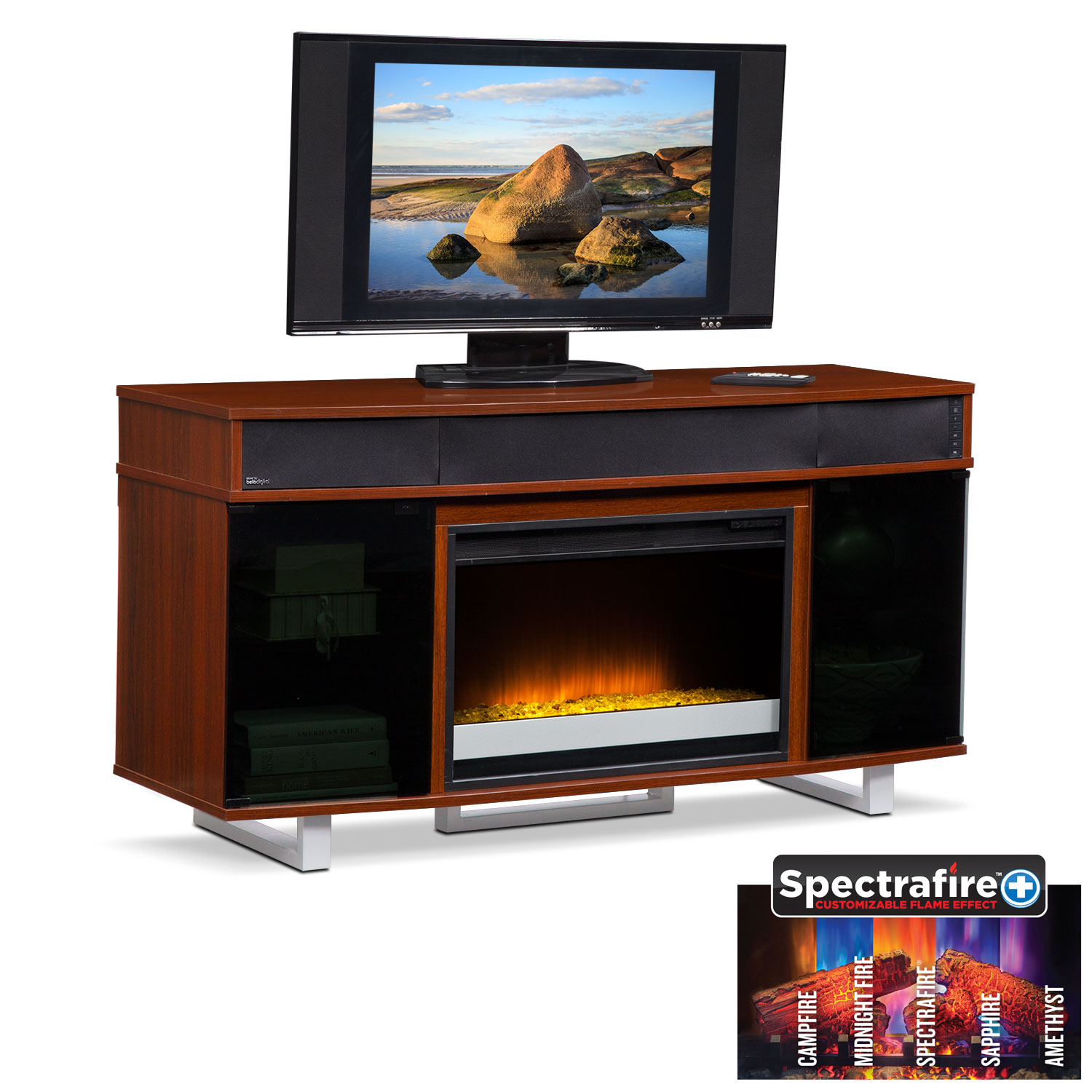 "Entertainment Furniture - Pacer 56"" Contemporary Fireplace TV Stand with Sound Bar  - Cherry"