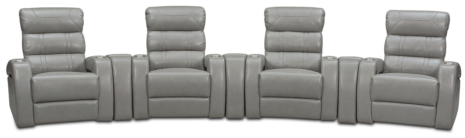 Living Room Furniture - Bravo 7-Piece Power Reclining Home Theater Sectional - Gray