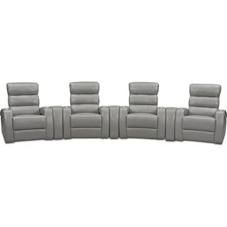 Bravo 7-Piece Power Reclining Home Theater Sectional - Gray