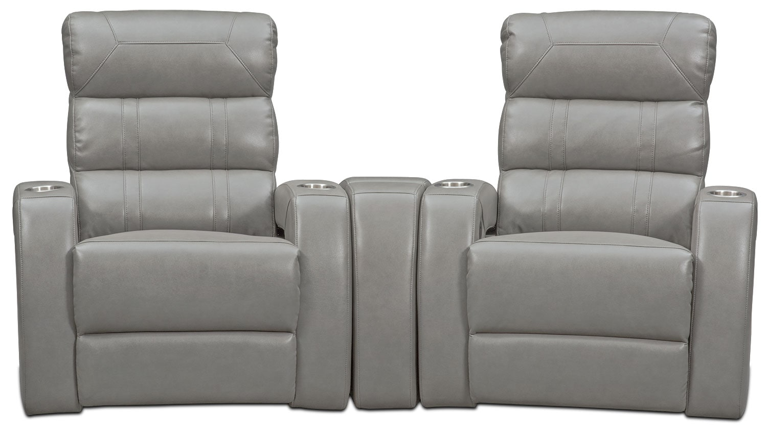 Living Room Furniture - Bravo 3-Piece Power Reclining Home Theater Sectional - Gray