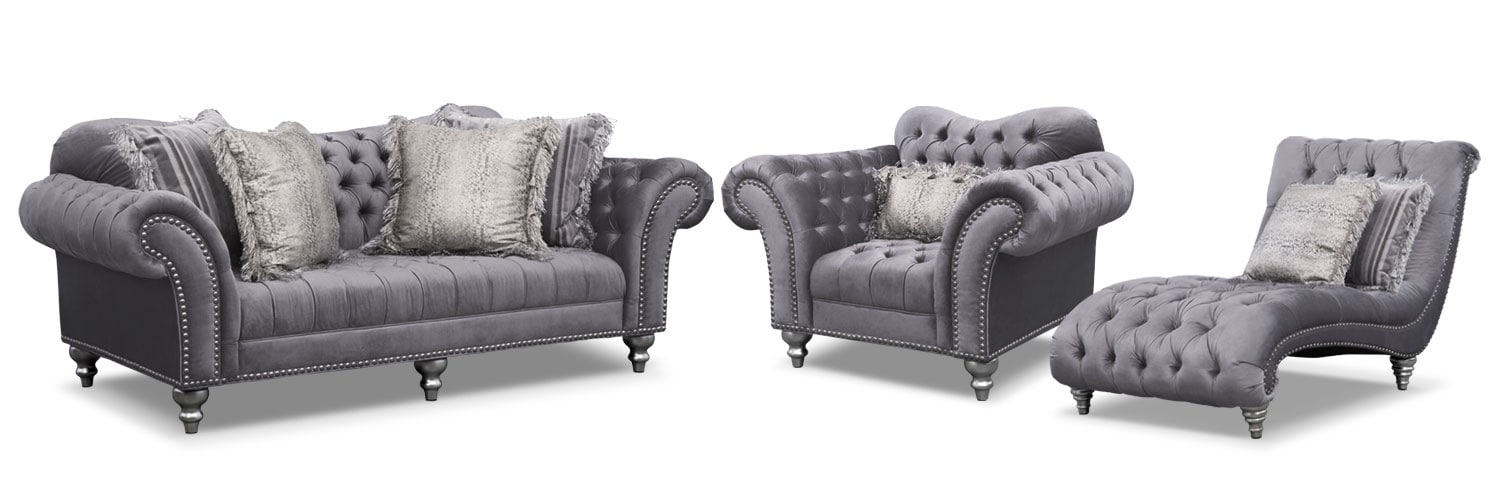 Living Room Furniture - Brittney Sofa, Chaise and Chair Set - Gray