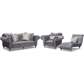 Brittney Sofa, Chair and Chaise Set - Gray