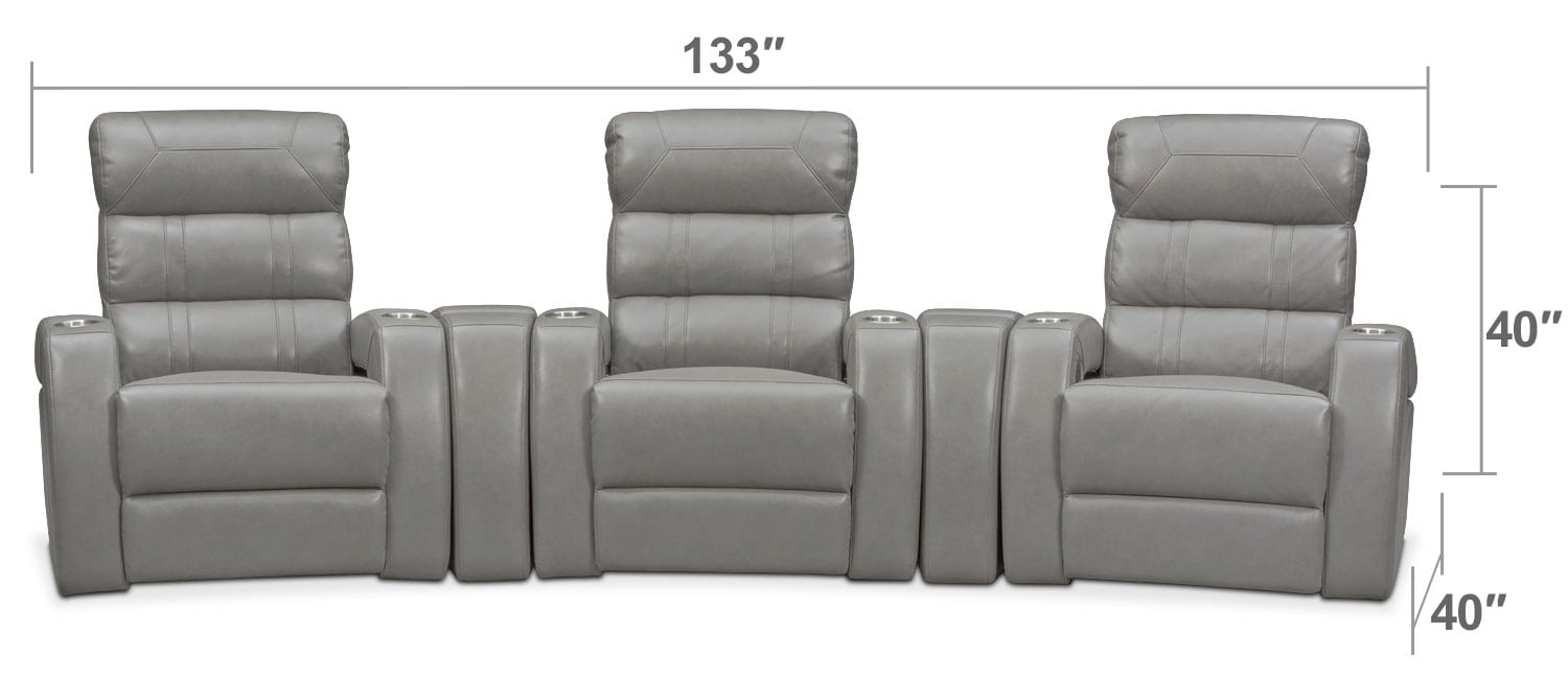 Living Room Furniture - Bravo 5-Piece Power Reclining Home Theater Sectional - Gray
