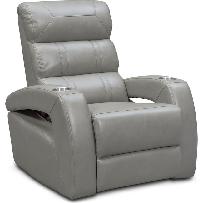 Living Room Furniture - Bravo Power Recliner - Gray