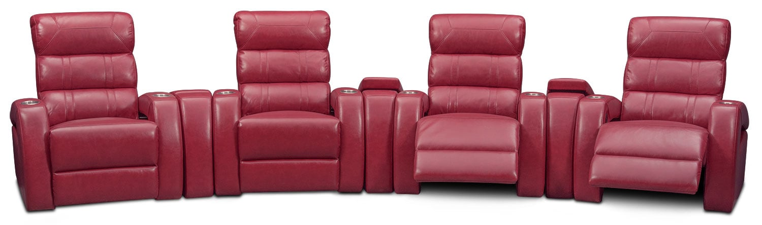 Bravo 7-Piece Power Reclining Home Theater Sectional - Red ...