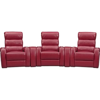 Bravo 5-Piece Dual-Power Reclining Home Theater Sectional with 3 Reclining Seats