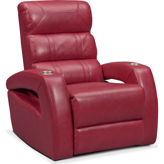 Living Room Furniture - Bravo Power Recliner - Red