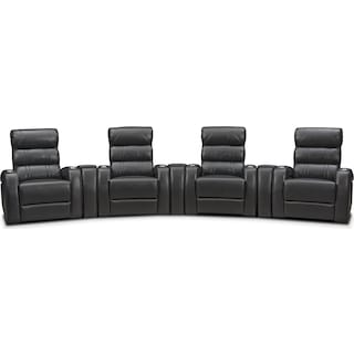 Bravo 7-Piece Power Reclining Home Theater Sectional - Black