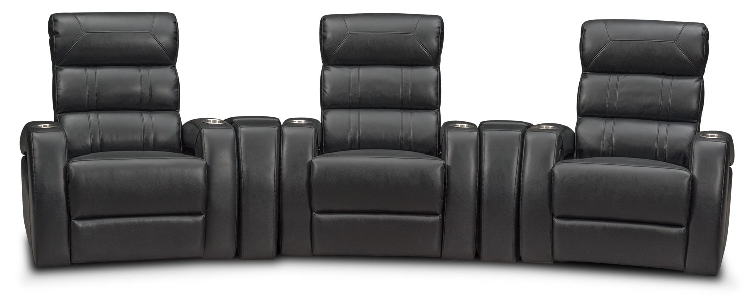 Bravo 5-Piece Power Reclining Home Theater Sectional - Black