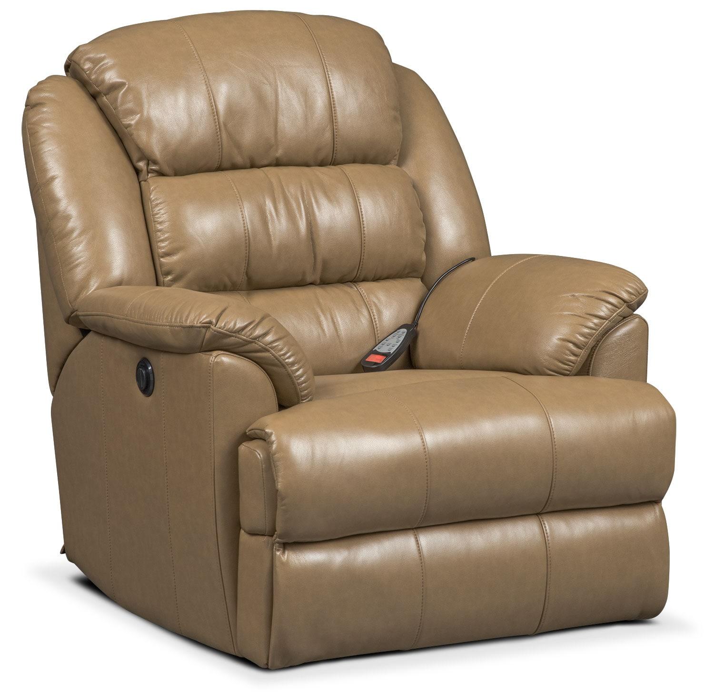 Living Room Furniture - Garrett Power Massage Recliner - Taupe