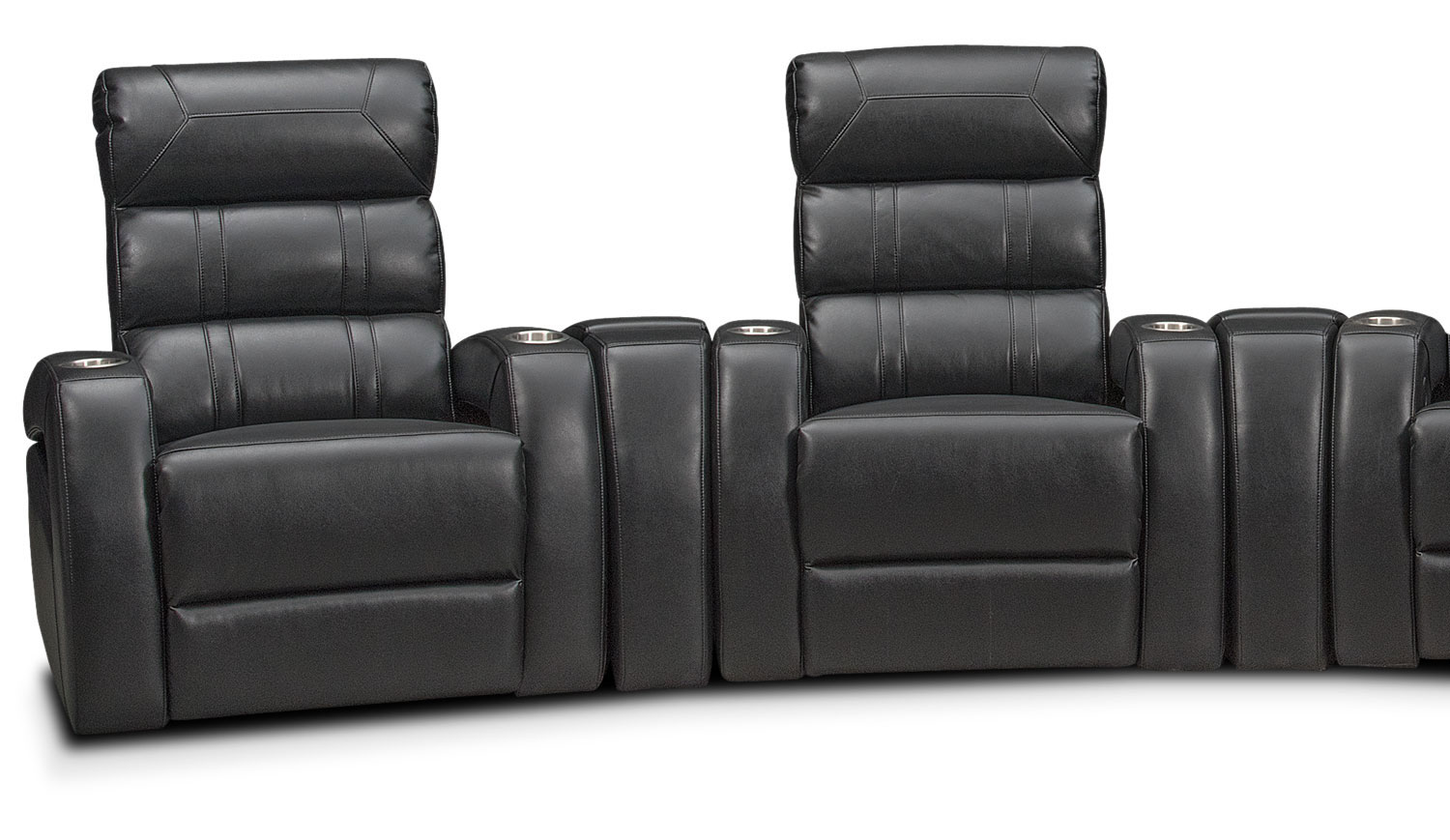 bravo 7 piece power reclining home theater sectional black american signature furniture. Black Bedroom Furniture Sets. Home Design Ideas