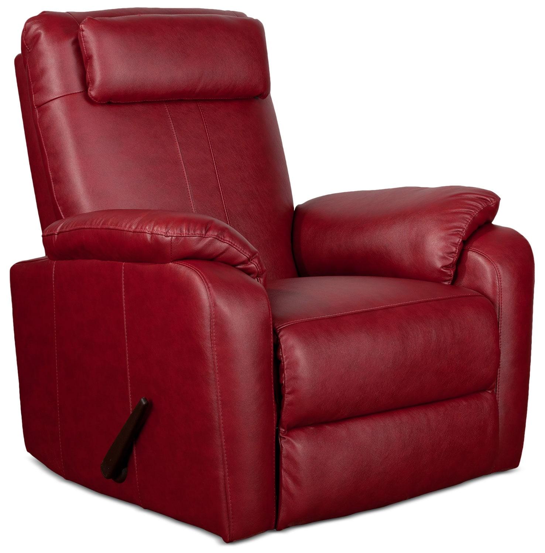 Living Room Furniture - Sparta Rocker Recliner - Red