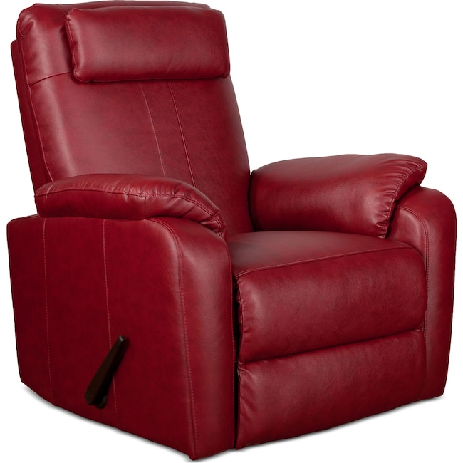 Living Room Furniture - Sparta Rocker Recliner - Red