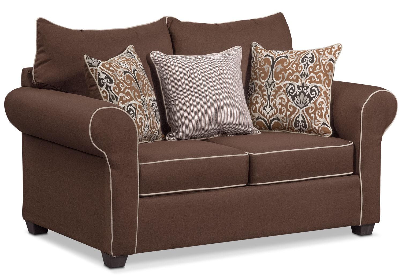 Living Room Furniture - Carla Loveseat - Chocolate