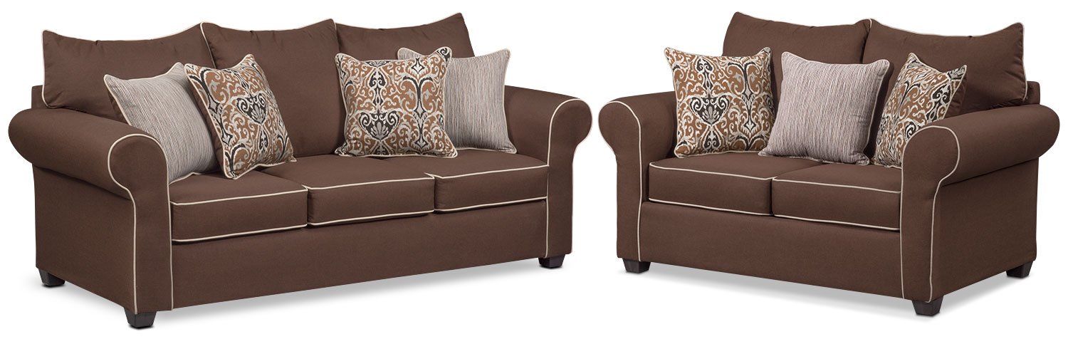 Living Room Furniture - Carla Queen Innerspring Sleeper Sofa and Loveseat Set - Chocolate