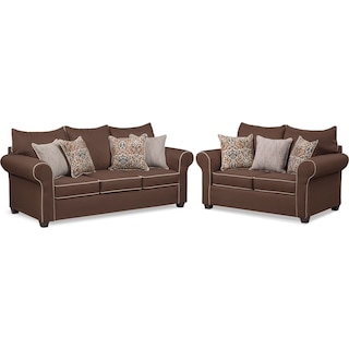 Carla Queen Memory Foam Sleeper Sofa and Loveseat Set - Chocolate