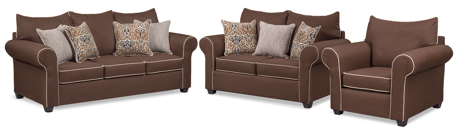 Living Room Furniture - Carla Queen Innerspring Sleeper Sofa, Loveseat and Chair Set - Chocolate