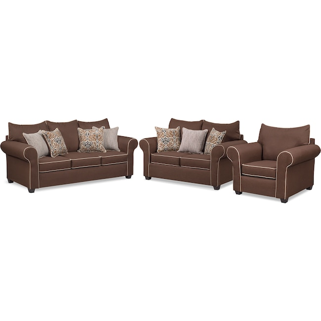 Living Room Furniture - Carla Sofa, Loveseat and Chair Set - Chocolate