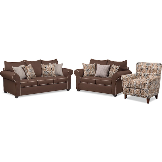 Living Room Furniture - Carla Queen Memory Foam Sleeper Sofa, Loveseat and Accent Chair Set - Chocolate